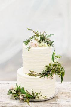 simple wedding cake with greenery