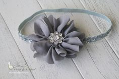 Flower Headband  Newborn Headband  Gray Flower by wrenandribbon, $14.00
