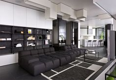 Trendy Black and White Apartment by Lera Katasonova Design