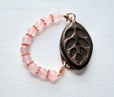 Rose quartz beaded bracelet for the Rose Gold LEAF by LadyLeafCo