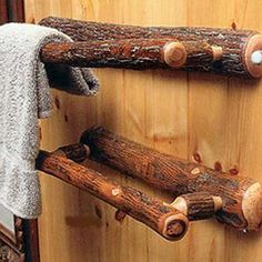 The simple design of this classic Hickory Log Bathroom Towel Rack will entice the eye with a natural rustic look. Handcrafted from the finest hickory wood, it adds rustic warmth to any bathroom.