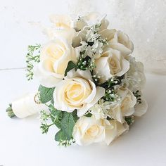 Cheap wedding bouquet artificial, Buy Quality wedding bouquet bridal directly from China bridal bouquet Suppliers: Beautiful Wedding Bouquet Bridal Bridesmaid Flower Wedding Bouquet Artificial Flower Rose Bouquet White Bridal Bouquets Prom Flowers, Blue Wedding Flowers, Bridesmaid Flowers, Bridal Flowers, Simple Wedding Bouquets, Wedding Brooch Bouquets, Flower Bouquet Wedding, Beautiful Roses Bouquet, Rose Bouquet