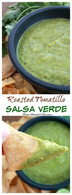 Roasted Tomatillo Salsa Verde is incredibly easy to make. Delicious and savory. … Roasted Tomatillo Salsa Verde is incredibly easy to make. Delicious and savory. Perfect with chips or as a topping for tacos. By Mama Maggie's Kitchen Tomitillo Recipes, Sauce Recipes, Cooking Recipes, Healthy Recipes, Recipies, Vitamix Recipes, Healthy Snacks, Tomatillo Salsa Verde, Roasted Tomatillo Salsa
