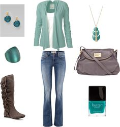 """Teal and Grey"" by achristie on Polyvore"