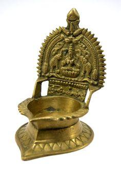 Vintage Rare Engraved Brass Goddess Laxmi Diya Worship Lamp. G53-88