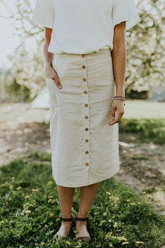 Roosevelt Linen Midi Skirt in Natural | ROOLEE