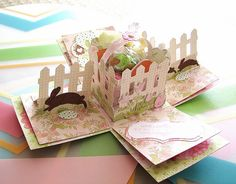 Cricut Easter Exploding Box Card.  Wrap it up, Easter 2010 and Create a Critter Cartridges. Side Fences - Easel style.