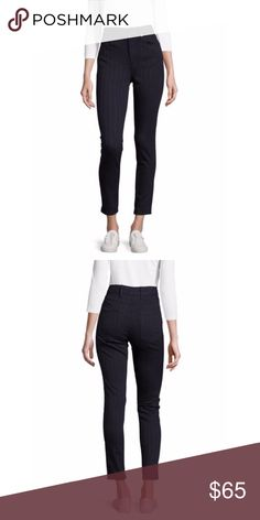 """NEW WITH TAGS! Sandro high waisted striped pants It's new with tags and original package. About 10"""" rise. Leg opening is about 11"""". Skinny fit. The smallest size of Sandro (34/0). Machine washable. Color is described as Navy Blue, but it looks more like black to me. Sandro Pants Skinny"""