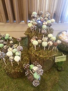 Enchanted Forest cake pops . wood logs with holes drilled in top for cake pop sticks.  Cover tops in moss.  Might be fun if the cake pops were mushrooms.