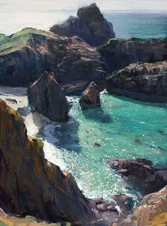 "Paul Lewin  ""I LOVE the way the water is depicted - so alive - and the softness of the gorgeous rocks...hm"""