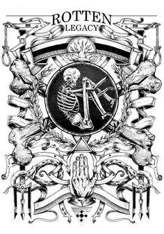 Few posters, few t-shirt designs, black and white only. Memento Mori, Black Art, Black And White, Victorian Illustration, Creepy, Esoteric Art, Street Art, Tattoo Illustration, Skull And Bones