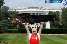 The human barbell, Barack Hussein Obama, brainless lightweight that he is, being lifted by a real man, Vlad Putin. Hilarious. Second part would show Putin dropping the H.B.B.