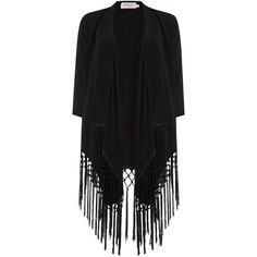 Soaked in Luxury Blazer with fringes ($50) ❤ liked on Polyvore featuring outerwear, jackets, blazers, cardigans, blazer, kimono, black, clearance, soaked in luxury and fringe blazer