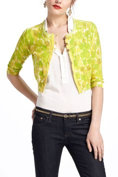 Make something like this.  Piping Hedges Cardi - Anthropologie.com