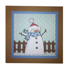 Bertie the Snowman. Handmade card by Becki Mayes
