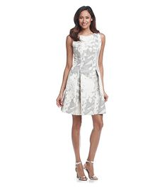 Taylor Dresses Metallic Floral Fit And Flare Dress   Carson's
