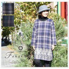 【Fanaka ファナカ】ウール コットン チェック 刺繍 付 ワンピース (72-2553-101)