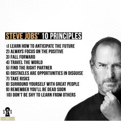 Steve Jobs 10 Principles Tag someone who needs to see this - Steve Jobs, True Quotes, Motivational Quotes, Inspirational Quotes, Work Success, Career Success, Dark Quotes, Daily Motivation, Success Quotes