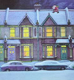Raymond Briggs' Father Christmas Detail. I love this, it is christmas at  your aunties house, tea under the balloons.