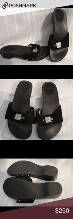 """Authentic Chanel Black Suede Clogs Slides Sandals All of my items are Guaranteed 100% Genuine I do not sell FAKES of any kind  EXCELLENT condition! I have done a collage of photos since we can only do 4 I wanted you to see the close up of Chanel that is engraved into the side of the suede, also the Double C logo carved into the side wood!! Also the fabulous condition is seen in the photos, nothing to hide here!!  Heel: 1.5 """"  Size 40 US 10  No Trades (S082) Chanel Shoes"""