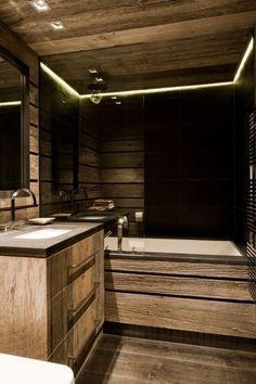 41 Amazing Chalet Bathroom Décor Ideas : 41 Amazing Chalet Bathroom Décor Ideas With Wooden Washbasin And Wall Mirror And Big Bathtub And Wo...