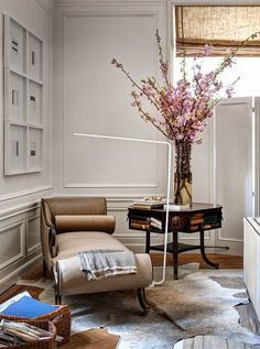 table, settee, blossoms