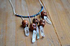 phantom quartz tourmaline tribal drip necklace // sterling silver