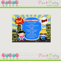 Superhero Birthday Invitation Printable  - You Choose the Character - Sibling Super Hero Birthday Invitation - Super Hero Invite - DIY