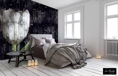 "Meet our lovely wallpaper collection 'Dutch Dreams' A beautiful mix between Art & Wallcoverings. This timeless collection can be purchased at official 'La Aurelia'-retailers. (wallpaper: ""Wooden Tulip"" Mural & Extensions)  #interior #bedroom #wallpaper #tulip #wallart #laaurelia #black #white"