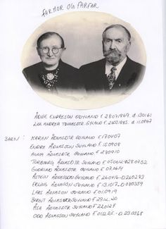 My great grand father and great grand mother, Ådne Søyland and Lisa Andrea Gyland Søyland. Underneath listed all their children My Father, My Family, Lisa, Children, Boys, Kids, Families, Big Kids, Children's Comics
