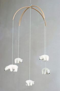 Polar bear baby mobile is made to order in ~3 weeks. These lovely flying bears will bring joy and pease to your nursery. I knit these bears from soft mixed wool yarn. Color is natural white (ivory, cream), not pure white. They are filled with natural white undied wool. Bears hang on beech