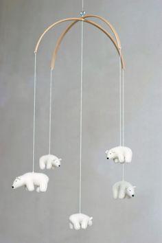 nursery mobile baby mobile Polar bear mobile white door Patricija