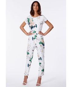 Delia Floral Tailored Jumpsuit White - Jumpsuits - Missguided