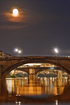 River Arno Moon, Florence, Italy