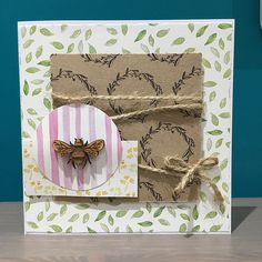 7 principles of card design - CAS StickerKitten Bee Garden card with twine