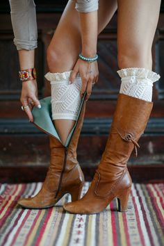 lace-trimmed boot cuffs