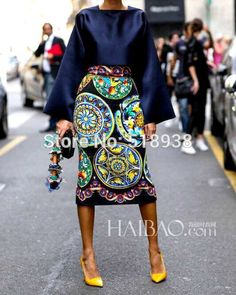 New arrival 2014 women vintage fashion porcelain patterns print sexy sheath pencil mid-calf skirt + square collar blouse tops