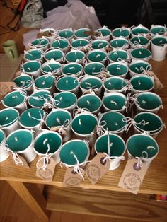 Homemade candles wedding favours