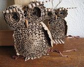 Christmas Ornament Cardboard Owl Duo by alteredperception on Etsy
