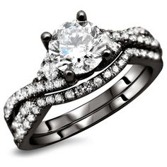 18K Black Gold 1.25ct TDW Certified Round Diamond 2-Piece Bridal Ring Set (F-G, SI1-Si2) | Overstock.com Shopping - The Best Deals on Bridal Sets