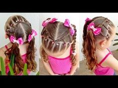 Easy hairstyle for girls / Hairstyle with elastic bands and two ponytail for school Short Hair Styles Easy, Short Hair Updo, Ponytail Hairstyles, Cute Hairstyles, Little Girl Hairdos, Girls Hairdos, School Hairdos, Hair Dos For Kids, Baby Girl Hair