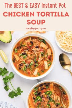 This creamy and comforting Chicken Tortilla Soup is loaded with tender chicken, black beans, fire roasted tomatoes, smokey jalapeños and has all of your favorite Mexican flavors. #ministryofcurry #instantpot #mexicancuisine Quick Soup Recipes, Instant Pot Dinner Recipes, Delicious Dinner Recipes, Curry Recipes, Fall Recipes, Indian Food Recipes, Chicken Recipes, Indian Appetizers, Biryani Recipe