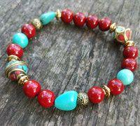 Bracelet de style Boho  Perles en turquoises naturelles et Verre, Apprêts style Baroque Style Boho, Turquoise, Artisanal, Baroque, Beaded Bracelets, Rock, Jewelry, Fashion, Beads
