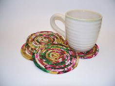 Multicolor Coiled Fabric Coasters Set of 4 by Bonbonsandmore-love these coasters--pretty colors, different style-goes with everything