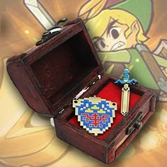 Game The Legend Of Zelda Necklace+Box Mosaic Shield Sword Keychain Pendant Cool