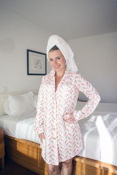 8fc4d1196c4ee5 Bawełniana koszula nocna w koralowe ptaszki - Lunaby_brand - Bielizna nocna