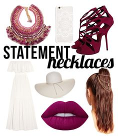 """Statement Necklaces"" by gabby-baird ❤ liked on Polyvore featuring Temperley London, Giuseppe Zanotti, Nine West, JFR, Missguided, Lime Crime and statementnecklaces"
