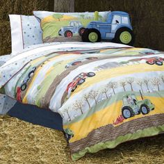 Field Days, farm themed boys toddler bedding set in 100% Cotton.
