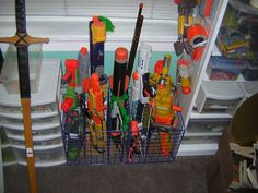 So many nerf guns--so little time! So here are loads of fun ideas on nerf gun storage so you can get them off the floor and organized!