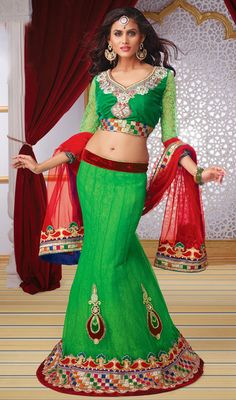 Green Fish Cut Net Embroidered Lehenga Choli Price: Usa Dollar $189, British UK Pound £111, Euro138, Canada CA$ 202, Indian Rs10206.